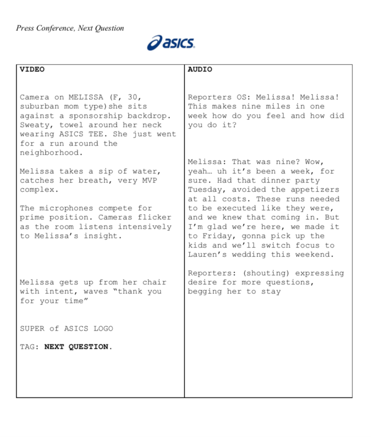 Mock, Asics, Screen: An imitation of a press conference and the modern stage an athlete is given.